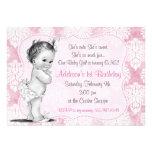 Vintage Baby Girl Chic Damask Birthday Invitation