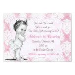Vintage Baby Girl Chic Damask Birthday Invitation at Zazzle