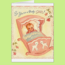 Vintage Baby Girl Congratulations Greeting Card