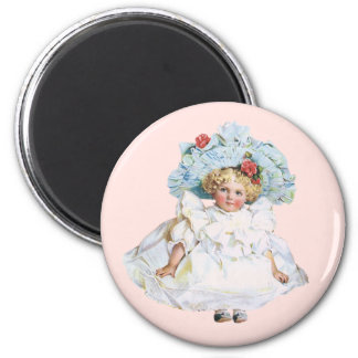 Vintage Baby Girl Doll, Easter Dress and Hat 2 Inch Round Magnet