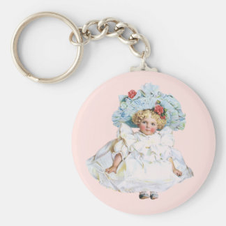 Vintage Baby Girl Doll, Easter Dress and Hat Basic Round Button Keychain