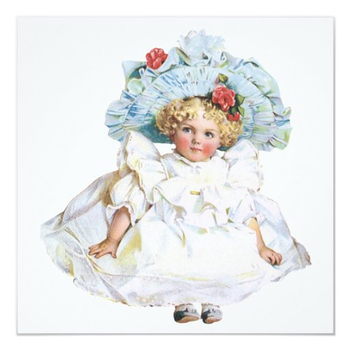 "Vintage Baby Girl Doll, Easter Dress and Hat 5.25"" Square Invitation Card"