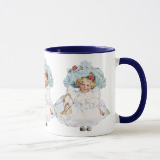 Vintage Baby Girl Doll, Easter Dress and Hat Mug