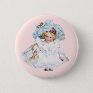 Vintage Baby Girl Doll, Easter Dress and Hat Pinback Button