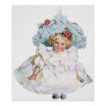 Vintage Baby Girl Doll, Easter Dress and Hat Poster