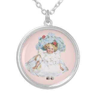 Vintage Baby Girl Doll, Easter Dress and Hat Silver Plated Necklace
