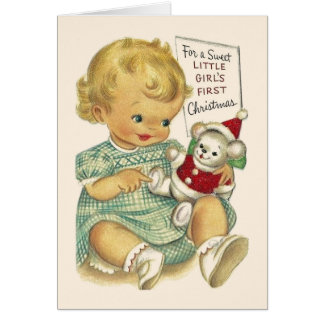 Vintage Baby Girl First Christmas Card