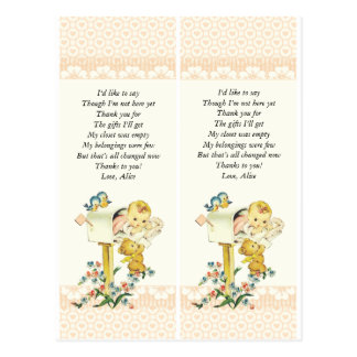 Vintage Baby Girl In Mail Box Baby Shower Favor Postcard