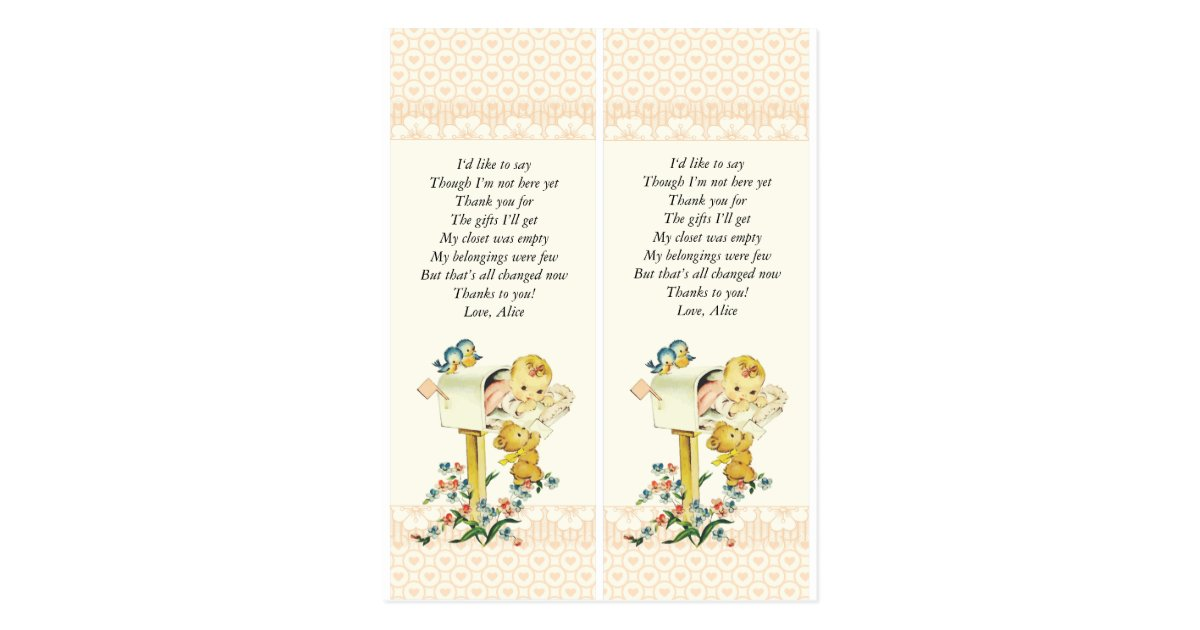 Baby Shower Through Mail ~ Vintage baby girl in mail box shower favor postcard