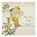 Vintage Baby Girl in Mail Box Personalized Birth Poster