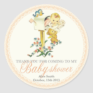 Vintage Baby Girl inside Mail Box Baby Showe Favor Classic Round Sticker