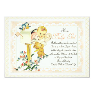 Vintage Baby Girl inside Mail Box Baby Shower 5x7 Paper Invitation Card