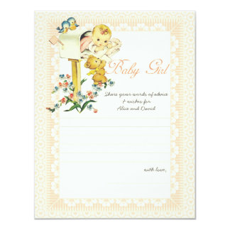 Vintage Baby Girl Mail Box Baby Shower Advice Card