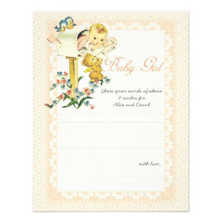 Vintage Baby Girl Mail Box Baby Shower Advice Card Personalized Announcements