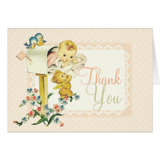 Vintage Baby Girl Mail Box Custom Thank You Card