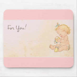 Vintage Baby Girl Mouse Pad