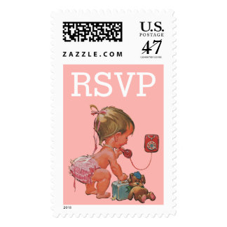Vintage Baby Girl on Phone Baby Shower RSVP Postage
