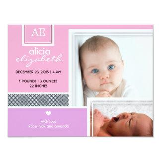 Vintage baby girl photo birth announcement