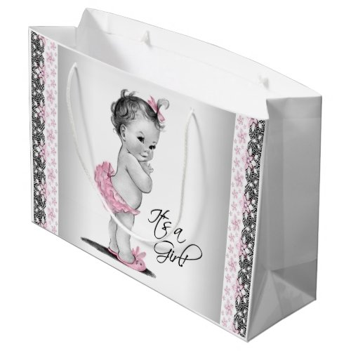 Vintage Baby Girl Pink Black Lace Baby Shower Large Gift Bag