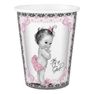 Vintage Baby Girl Pink Gray Baby Shower Paper Cup