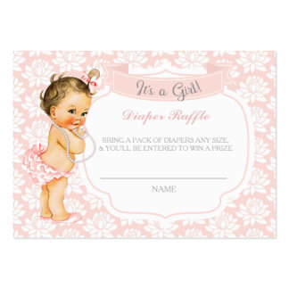 Vintage Baby Girl Pink Gray Diaper Raffle Ticket Large Business Card