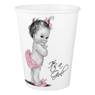 Vintage Baby Girl Pink Gray Girl Baby Shower Paper Cup