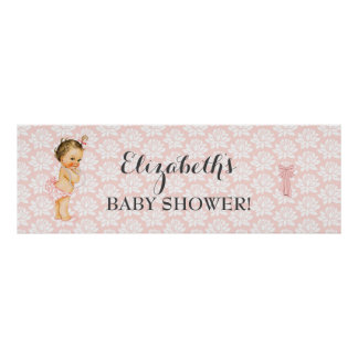Vintage Baby Girl Pink & White Shower Announcement Poster