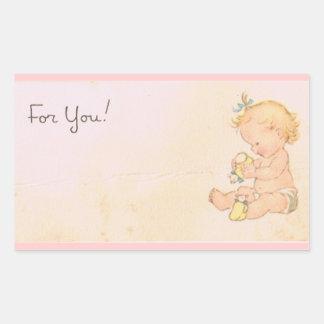 Vintage Baby Girl Rectangular Sticker