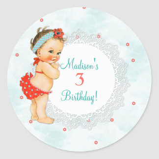 Vintage Baby Girl Red Bathing Suit Lace Classic Round Sticker