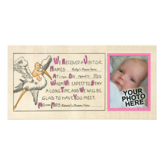 Vintage Baby Girl & Stork Birth Announcement Pink Customized Photo Card