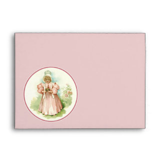 Vintage Baby Girl with Chicks. Easter Envelopes