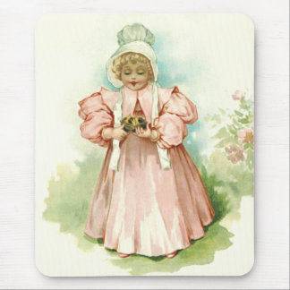Vintage Baby Girl with Chicks Easter Gift Mousepad