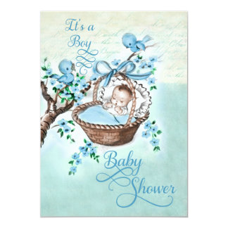 Vintage Baby in Basket and Birds Boys Baby Shower 5x7 Paper Invitation Card