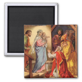 Vintage Baby Jesus and the 3 Kings Magnet