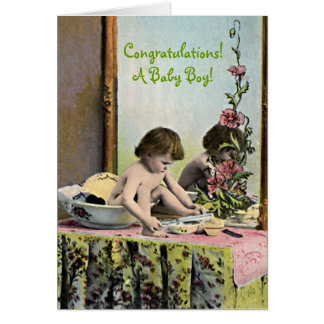 Vintage Baby On A Dressing Table Card