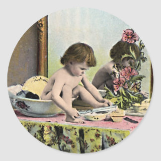 Vintage Baby On A Dressing Table Classic Round Sticker