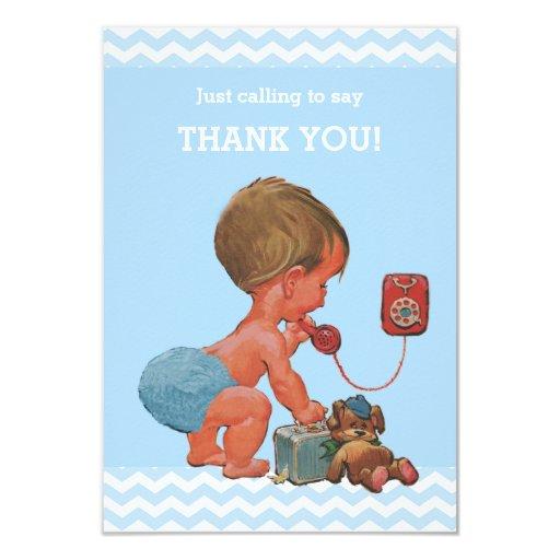 Vintage Baby Shower Thank You Cards: Vintage Baby On Phone Baby Shower Thank You Card