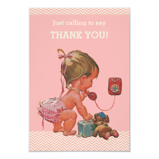 Vintage Baby on Phone Baby Shower Thank You 3.5x5 Paper Invitation Card