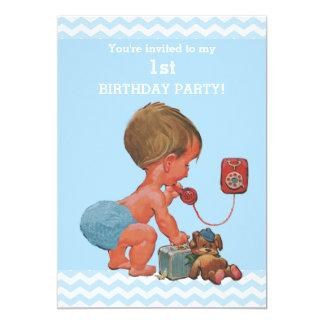 "Vintage Baby on Phone Blue Chevrons 1st Birthday 5"" X 7"" Invitation Card"