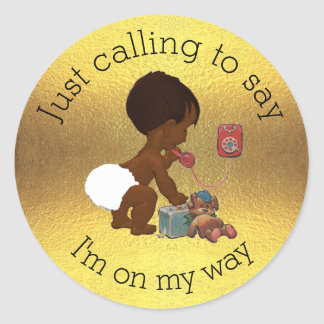 Vintage Baby on Phone Faux Gold Foil Baby Shower Classic Round Sticker