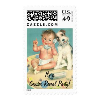 Vintage Baby on Phone, It's a Gender Reveal Party! Postage
