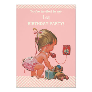 Vintage Baby on Phone Pink Chevrons 1st Birthday 5x7 Paper Invitation Card