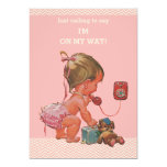 "Super Cute ""Just Calling To Say"" Vintage  Baby Shower Invitation (Girl)"