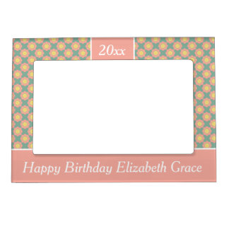 Vintage Baby Pink Flower Personalized Magnetic Photo Frame