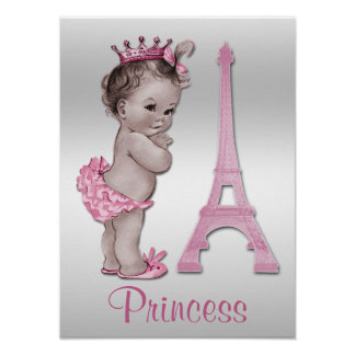 Vintage Baby Princess and Eiffel Tower Poster