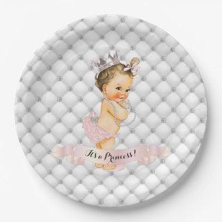 Vintage Baby Princess Diamonds Blush Pink Vintage Paper Plate