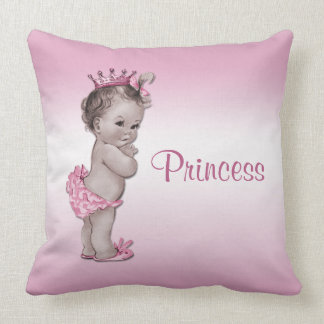 Vintage Baby Princess Pink Throw Pillow