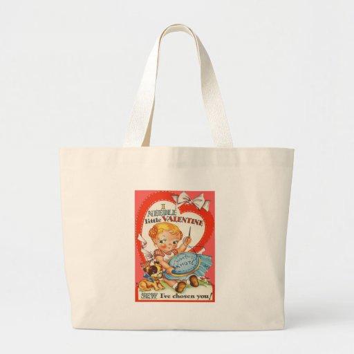 Vintage Baby & Puppy Doing Needlepoint Valentine Canvas Bag