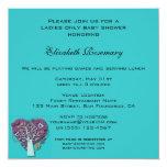 "Vintage Baby Shower, Aqua Love Hearts Tree 5.25"" Square Invitation Card"