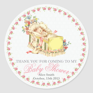 Vintage Baby Shower Baby in Crib Thank You Favor Classic Round Sticker